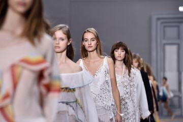 PARIS, FRANCE - OCTOBER 01:  Models walk the runway during the Chloe show as part of the Paris Fashion Week Womenswear Spring/Summer 2016 on October 1, 2015 in Paris, France.  (Photo by Pascal Le Segretain/Getty Images)