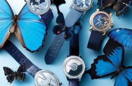 (왼쪽 위부터 시계 방향으로)마더오브펄을 꽃 모양으로 세팅한 시계는 불가리(Bulgari), 구름 위로 날아다니는 나비를 형상화한 새틴 스트랩 시계는 쇼메(Chaumet), 루비와 사파이어로 장식한 물고기가 생동감 있게 표현된 시계는 쇼파드(Chopard), 깃털처럼 섬세한 자개 장식이 돋보이는 악어가죽 시계는 디올(Dior), 타원형 케이스의 악어가죽 시계는 브레게(Breguet).