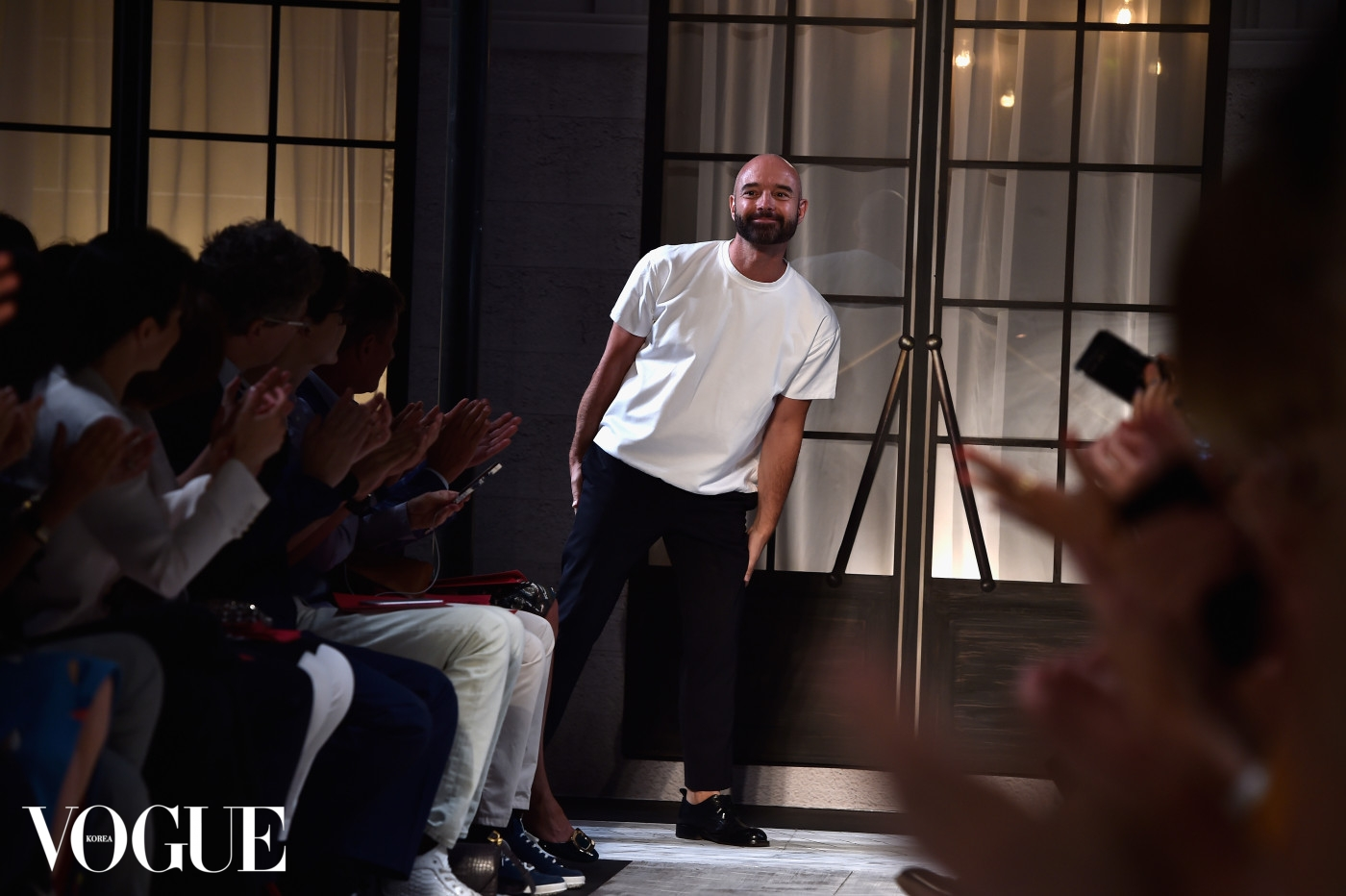 PARIS, FRANCE - JULY 06: Designer Bertrand Guyon poses at the end of the runway during the Schiaparelli show as part of Paris Fashion Week Haute Couture Fall/Winter 2015/2016 on July 6, 2015 in Paris, France.  (Photo by Pascal Le Segretain/Getty Images)