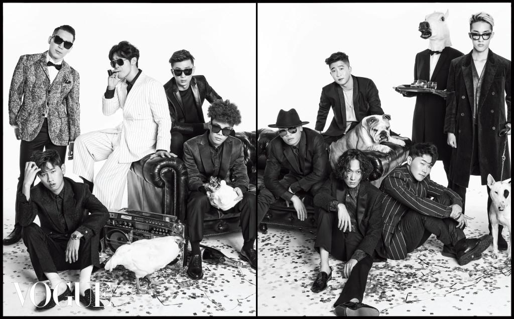 (왼쪽부터)프리즈가 입은 재킷은 꼬르넬리아니(Corneliani), 셔츠와 바지, 보타이는 모두 바톤 권오수(Baton Kwon Oh Soo), 선글라스는 뮤지크(Muzik), 구두는 코스(Cos). 크러쉬의 수트와 셔츠는 베르사체(Versace), 구두는 쥬세페 자노티(Giuseppe Zanotti). 최자의 수트는 오디너리 피플(Ordinary People), 셔츠는 바톤 권오수, 선글라스는 바톤 페레이라(Barton Perreira at Nas World), 담배 파이프는 라이타타임(Lightertime). 프라이머리의 재킷은 바톤 권오수, 티셔츠는 꼬르넬리아니, 바지는 올세인츠(AllSaints), 선글라스는 겐조(Kenzo at DK Optic), 소파에 앉은 지구인이 입은 재킷은 바톤 권오수, 셔츠는 일레븐파리(Elevenparis), 바지는 쟈딕앤볼테르(Zadig&Voltaire), 선글라스는 브릭퍼스트(Brick First), 손에 든 북극곰 오브제는 스타일리티(Styliti). 개코의 수트와 셔츠, 타이는 모두 보스 맨(Boss Man), 페도라는 엔메이드(N Made), 선글라스는 스틸러(Stealer). 얀키의 재킷은 코스, 바닥에 앉은 필터의 재킷은 바톤 권오수, 셔츠는 폴 스미스(Paul Smith), 바지는 앤 드멀미스터(Ann Demeulemeester), 구두는 레페토(Repetto), 행주의 재킷은 문수 권(Munsoo Kwon), 티셔츠는 존 스메들리(John Smedley), 바지는 오디너리 피플, 구두는 우영미(Woo Young Mi). 자이언티의 코트와 베스트, 바지는 모두 하이더 아커만(Haider Ackermann), 선글라스는 마크 바이 마크 제이콥스(Marc by Marc Jacobs at Safilo). 말 머리 웨이터가 든 은쟁반은 디자인 까레(Kare-Korea). 붐박스는 위드카(Withcar). 샴페인은 멈(G.H.Mumm).