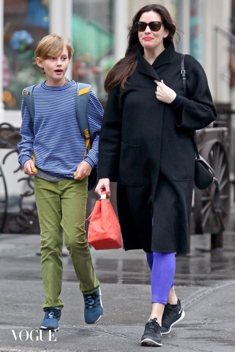 Liv Tyler ends her week by walking her son to school Friday morning