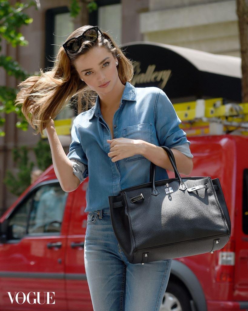 Miranda Kerr wears all denim on a beautiful day in New York City