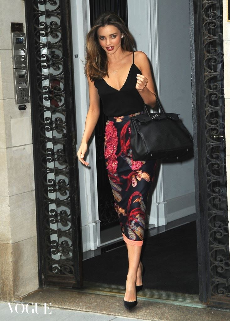 Miranda Kerr on her way to the 'Jimmy Fallon show' in a red and black dress in NYC