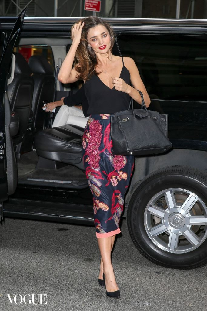 Miranda Kerr spotted wearing a leaf print pencil skirt and a low cut top while she was arriving to dinner at the Asiate Restaurant in New York City