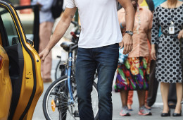 Matthew Paetz seen opening a taxi cab door while going to lunch with Lea Michele in NYC