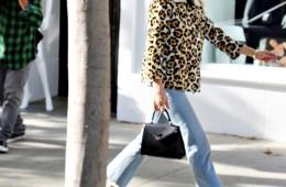Chloë Sevigny seen wearing leopard print jacket with cat eye designer frames.  Pictured: Chloë Sevigny Ref: SPL1188496  031215   Picture by: KAT / Splash News  Splash News and Pictures Los Angeles:310-821-2666 New York:212-619-2666 London:870-934-2666 photodesk@splashnews.com