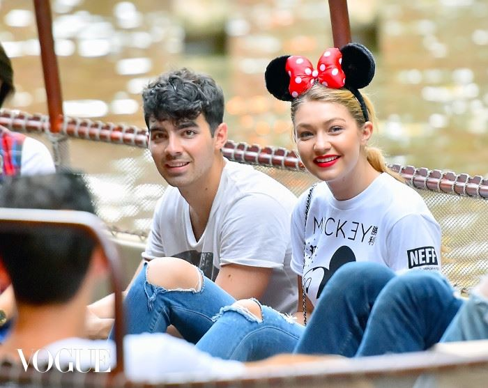 EXCLUSIVE: Joe Jonas and his new girlfriend Gigi Hadid spend a day at Disneyland having a super fun date. Joe and Gigi spent the day holding hands, and riding different rides through the park including Space Mountain,  it's a small world, splash Mountain, the haunted mansion and the Jungle Cruise. they were joined by a couple of friends, two bodyguards and a disneyland tour guide.  The pair seemed very happy spending time with each other constantly smiling hand holding hands while walking Pictured: Joe Jonas and Gigi Hadid Ref: SPL1086180  250715   EXCLUSIVE Picture by: Fern /  Splash News Splash News and Pictures Los Angeles:	310-821-2666 New York:	212-619-2666 London:	870-934-2666 photodesk@splashnews.com