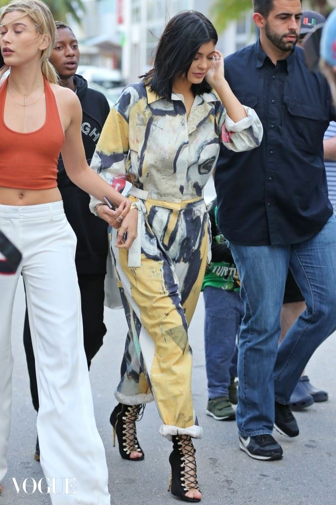 Model Kylie Jenner and Hailey Baldwin leaves Atrium on Collins Avenue in Miami Beach