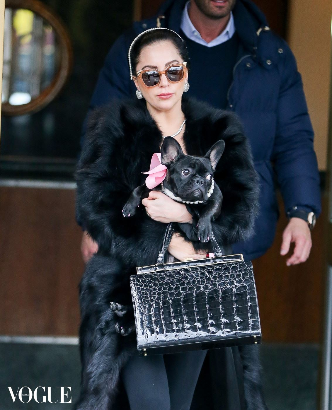 Lady Gaga and her dog Asia spotted matching headbands while their leaving in New York City. Pictured: Lady Gaga Ref: SPL916702  221214   Picture by: Santi/Splash News Splash News and Pictures Los Angeles:	310-821-2666 New York:	212-619-2666 London:	870-934-2666 photodesk@splashnews.com