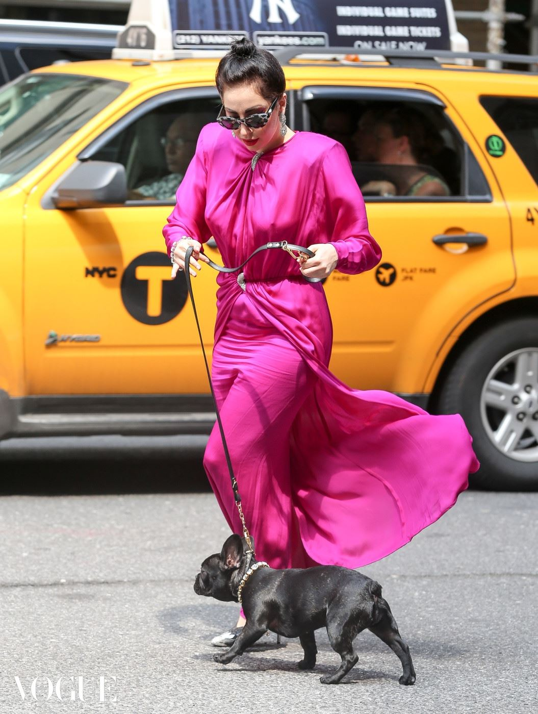 Lady Gaga steps out with her dog Asia wearing all diamonds in New York City. Pictured: Lady Gaga and Asia Ref: SPL809962  270714   Picture by: Santi/Splash News Splash News and Pictures Los Angeles:	310-821-2666 New York:	212-619-2666 London:	870-934-2666 photodesk@splashnews.com
