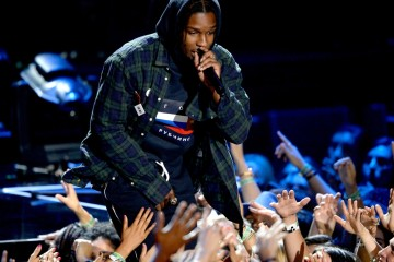 LOS ANGELES, CA - AUGUST 30:  Recording Artist ASAP Rocky perfom onstage during the 2015 MTV Video Music Awards at Microsoft Theater on August 30, 2015 in Los Angeles, California.  (Photo by Kevork Djansezian/Getty Images)