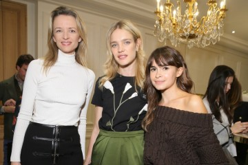 PARIS, FRANCE - OCTOBER 04:  Delphine Arnault, Natalia Vodianova and Miroslava Duma attend Buro 24/7 Family Presentation of 9 Fashion Designers from Russia, Ukraine and Kazakhstan at Hotel Bristol on October 4, 2015 in Paris, France.  (Photo by Victor Boyko/Getty Images)