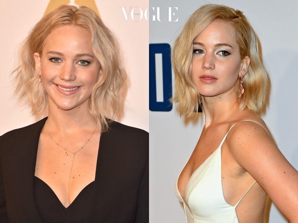 양쪽 길이가 다른 언발란스 컷의 웨이브 긴 단발을 하면서 진정한 대세가 된 제니퍼 로렌스(Jennifer Lawrence),