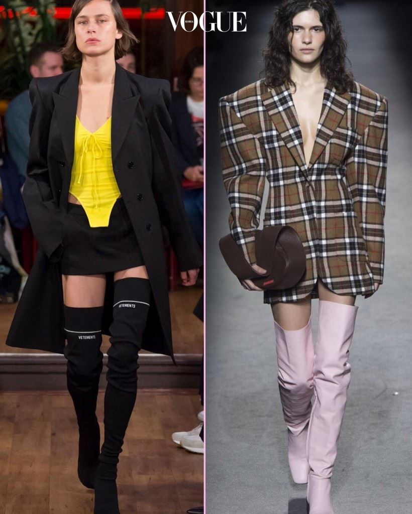 16S/S 베트멍(Vetements) VS. 16F/W 자크무스(Jacquemus). 남자친구 옷장에서 뺏어 입은 듯한 큼직한 재킷과 싸이 하이 부츠는 올해 일년 내내 유효한 아이템이겠군요! 평소보다 재킷 어깨는 더 큼직하고 길이가 긴 것으로 고르고 하의는 더 짧은 것으로 입어 보세요.