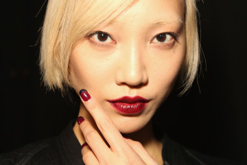 NEW YORK, NY - FEBRUARY 07:  Model Soo Joo Park poses backstage at Rebecca Minkoff fashion show during Mercedes-Benz Fashion Week Fall 2014 at The Theatre at Lincoln Center on February 7, 2014 in New York City.  (Photo by Chelsea Lauren/Getty Images)