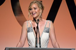 LOS ANGELES, CA - JANUARY 24:  Actress Jennifer Lawrence speaks onstage during the 26th Annual Producers Guild Of America Awards at the Hyatt Regency Century Plaza on January 24, 2015 in Los Angeles, California.  (Photo by Mark Davis/Getty Images)