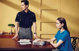 신하균이 입은 블랙 피케 셔츠는 지방시(Givenchy at Boon the Shop), 회색 팬츠는 프라다(Prada), 스포티한 크로노그래프 문자반의 아라도(Arado) 워치는 판제라(Panzera). 조윤희가 입은 터쿠아즈 블루 색상의 간결한 미니 드레스는 휴고 보스(Hugo Boss).