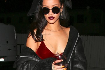 UK CLIENTS MUST CREDIT: AKM-GSI ONLY EXCLUSIVE: **SHOT ON 12/17/15** Santa Monica, CA - Rihanna looks festive in a red body hugging dress as she throws a 6 hr party at her favorite restaurant, Giorgio Baldi, in Santa Monica. The party started at 8 but of course every showed up fashionably late around 9. Her mom, friends, manager and of course BFF were all there. Drinks and wine were flowing all night as they sang karaoke until 3 am in a private room.   AKM-GSI         December 18, 2015  MANDATORY CREDIT: Maciel/  Pictured: Rihanna Ref: SPL1198896  181215   EXCLUSIVE Picture by: AKM-GSI / Splash News