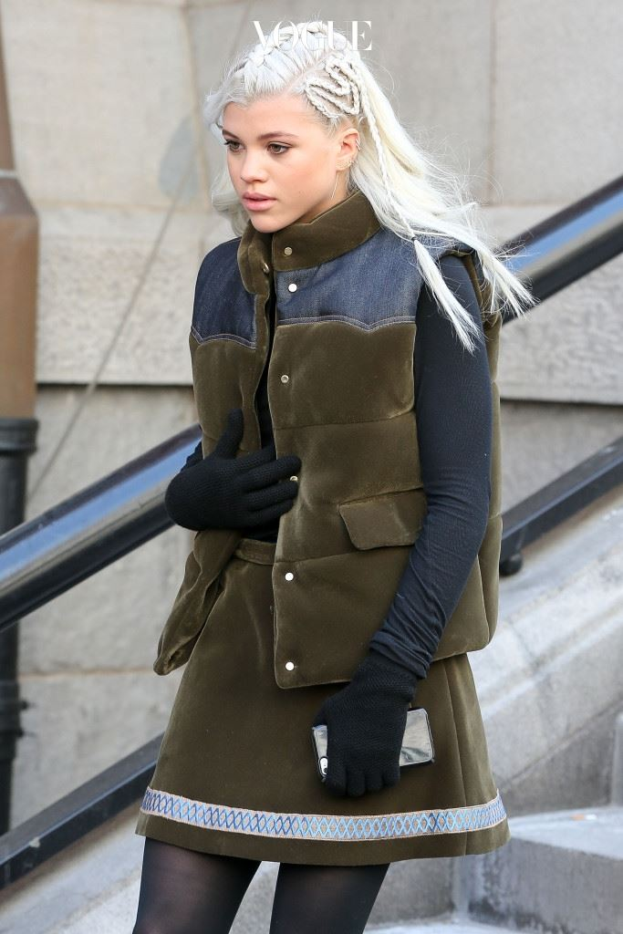 UK CLIENTS MUST CREDIT: AKM-GSI ONLY Sofia Richie leaves Park Avenue Armory after the Tommy Hilfiger Women's Collection Fashion Show as part of Mercedes-Benz Fashion Week Fall 2015 in New York City, NY on February 16, 2015. The fashion forward teen braided her blonde hair in a custom design on the side of her head. Pictured: Sofia Richie Ref: SPL953726  160215   Picture by: AKM-GSI / Splash News