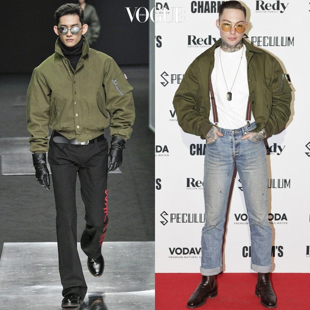 다니엘 스눅스 →화이트 티셔츠, 멜빵, 군번줄, 물빠진 청바지