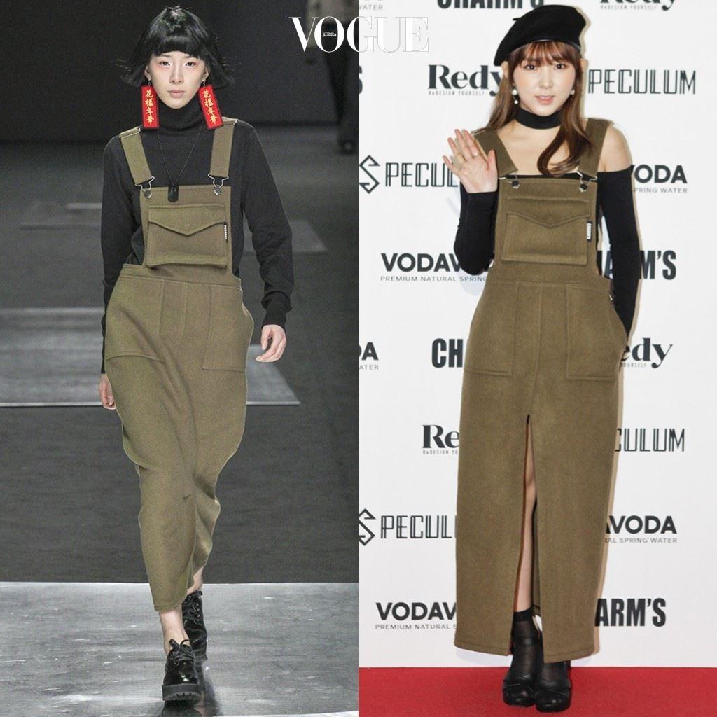 포미닛 권소현 →까만 베레, 벨벳 초커, 오프숄더 티셔츠, 씨스루 양말에 샌들