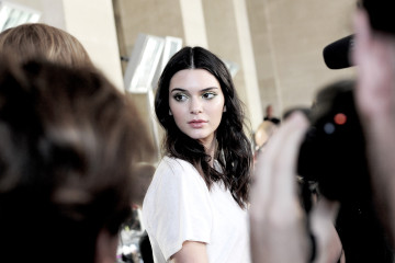 PARIS, FRANCE - JULY 05:  (EDITORS NOTE: Image has been digitally altered) Kendall Jenner backstage before the Versace show as part of Paris Fashion Week Haute-Couture Fall/Winter 2015/2016 on July 5, 2015 in Paris, France.  (Photo by Gareth Cattermole/Getty Images)