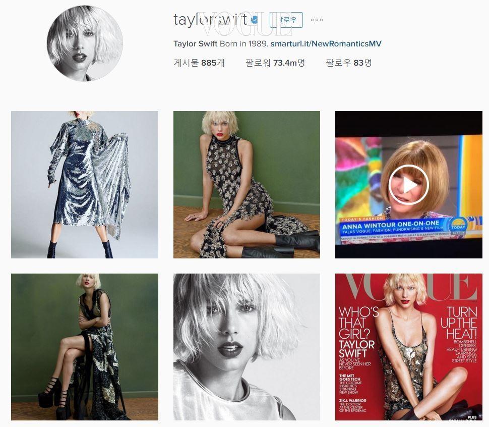 불과 몇 달 전까지는 절친인 테일러 스위프트(Taylor Swift)가 1위를 하고 있었는데 말입니다. (현재 2위인 테일러는 7,340만명 팔로워로, 셀레나를 바짝 추격 중! @taylorswift)