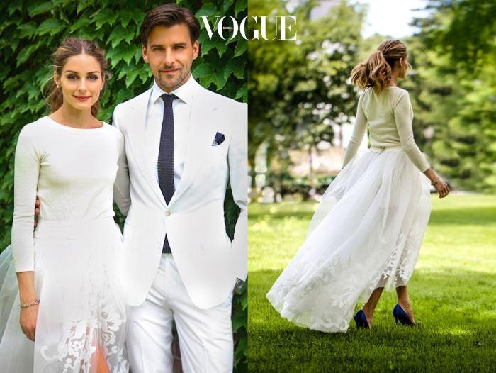 올리비아 팔레르모(Olivia Palermo) 의 실제 모델, 올리비아 팔레르모는 결혼식에서도 자신만의 스타일을 뽐냈습니다. 캐롤리나 헤레라의 캐시미어 스웨터와 튤 스커트를 입고 가족, 지인들과 함께 조용하게 결혼식을 치른 패셔니스타!