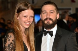 "LONDON, ENGLAND - OCTOBER 19:  Mia Goth and Shia LeBeouf attend the closing night European Premiere gala red carpet arrivals for ""Fury"" during the 58th BFI London Film Festival at Odeon Leicester Square on October 19, 2014 in London, England.  (Photo by Anthony Harvey/Getty Images for BFI)"