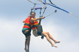EXCLUSIVE: **PREMIUM EXCLUSIVE RATES APPLY** Kendall Jenner laughs and takes selfies with sister Kourtney Kardashian as they parasail together in St.Barts. The sisters had a blast as they were laughing while being dipped into the water at times by the boat driver. Kendall also was spotted showing off her backside and putting on some sunscreen before flying high in the air. AUG 18TH 2015  Pictured: Kendall Jenner, Kourtney Kardashian Ref: SPL1107201  250815   EXCLUSIVE Picture by: Splash News  Splash News and Pictures Los Angeles:310-821-2666 New York:212-619-2666 London:870-934-2666 photodesk@splashnews.com