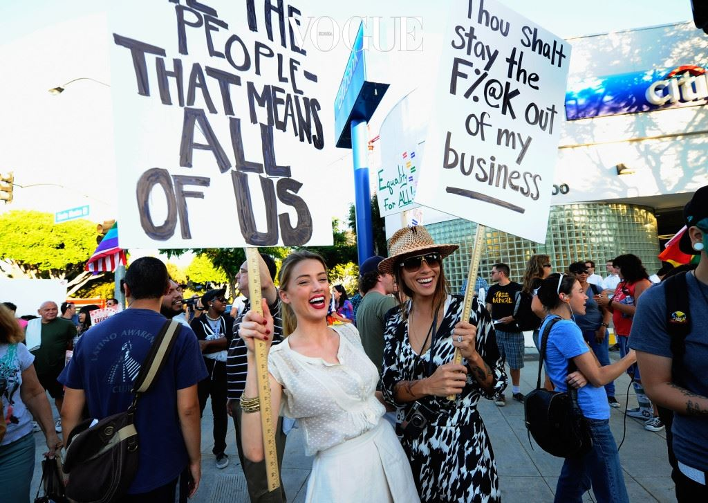 LOS ANGELES, CA - AUGUST 19:  Actress Amber Heard (L) holds a protest sign with her girlfriend Tasya Van Ree (R) during a same-sex marriage advocates demonstration against the stay barring gay marriages on August 19, 2010 in Los Angeles, California. On August 4, District Judge Vaughn Walker ruled against Proposition 8 as unconstitutional, and after his ruling the U.S. Ninth Circuit Court of Appeals granted proponents of Proposition 8 a stay on August 16.  (Photo by Kevork Djansezian/Getty Images)
