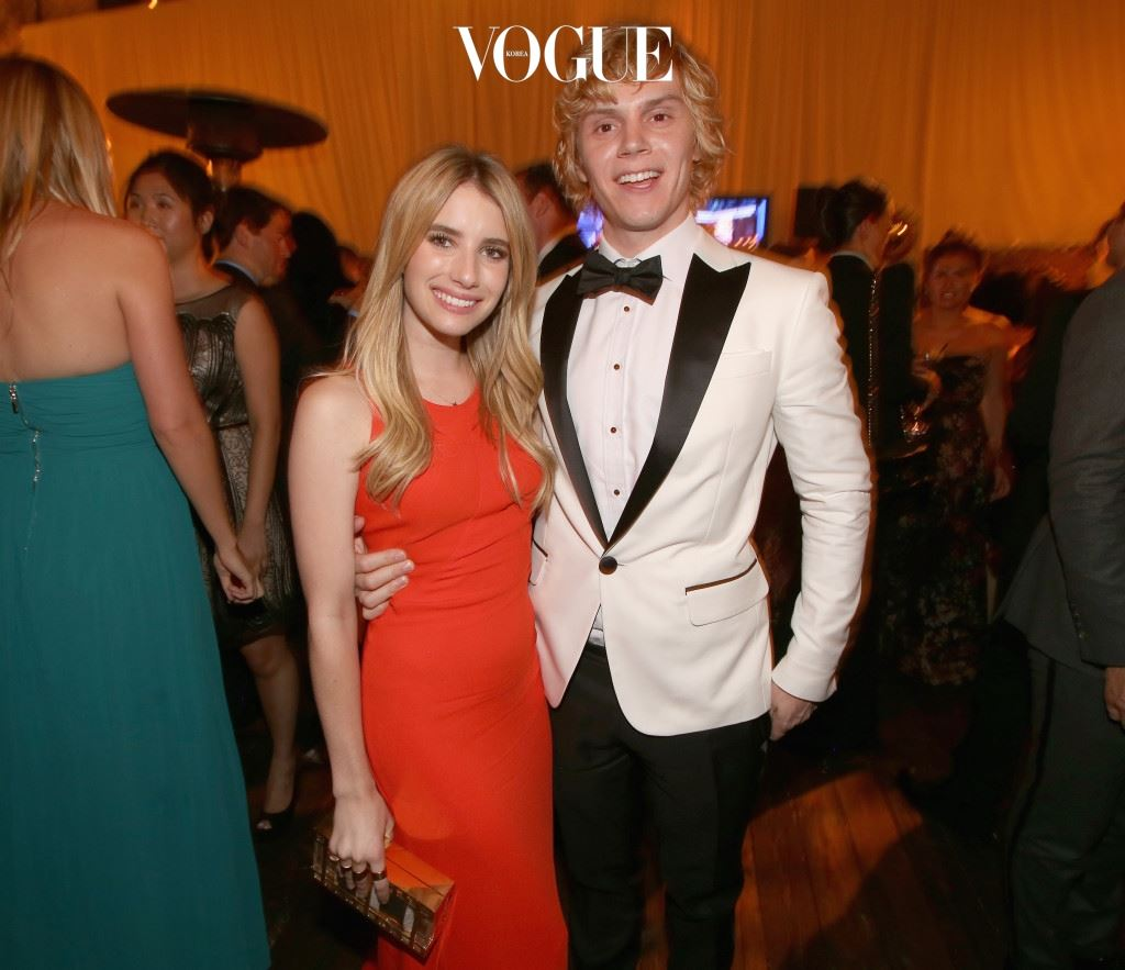 LOS ANGELES, CA - SEPTEMBER 22:  Actress Emma Roberts (L) and actor Evan Peters attend the Fox Broadcasting Company, Twentieth Century Fox Television and FX celebration of their 2013 EMMY nominees at Soleto on September 22, 2013 in Los Angeles, California.  (Photo by Christopher Polk/Getty Images for FOX)