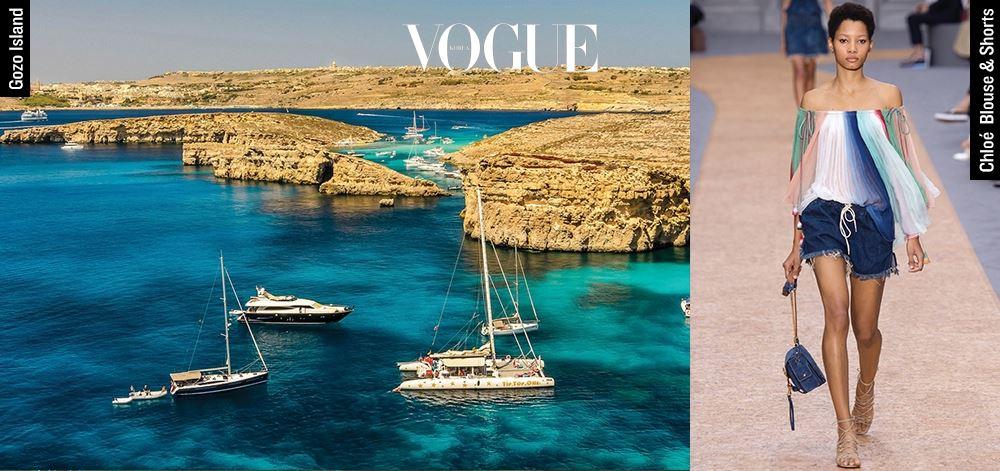SOHN EUN YOUNG/ Senior Fashion Style Editor Gozo Island 피트 & 졸리 커플의 영화 의 배경이 된 곳은 몰타의 작은 섬 고조. 미색 돌담과 초록 빛깔 바다, 인적이 드문 언덕 위 덩그러니 자리한 상점들. 얼핏 보면 지루한 시골 풍경이지만 영화 속 로맨스가 일어날 것 같다. Chloé Blouse & Shorts 휴양지에서는 남들 눈치 안 보고 '패션 로망'을 맘껏 펼칠 수 있다. 어깨를 훤히 드러낸 '샬랄라' 블라우스와 짧은 쇼츠. 여기에 챙 넓은 스트로 햇만 가미하면 금상첨화.