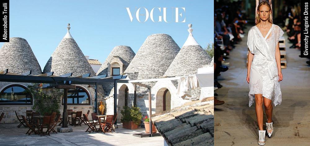 KIM MI JIN Senior Fashion Style Editor Alberobello Trulli 이태리 남부의 아주 작은 도시 '알베로벨로'는 기원전 4세기경부터 사용되던 주거용 건축물 트룰리로 이뤄진 곳. '개구쟁이 스머프'의 모티브가 된 마을이다. Givenchy Lingerie Dress 온통 흰색으로 도배된 이 마을에서 입으면 제격일 듯한 레이스 드레스. 이번 시즌 트렌드인 란제리 스타일로 로맨틱한 여름밤을 즐기는 데 필수.