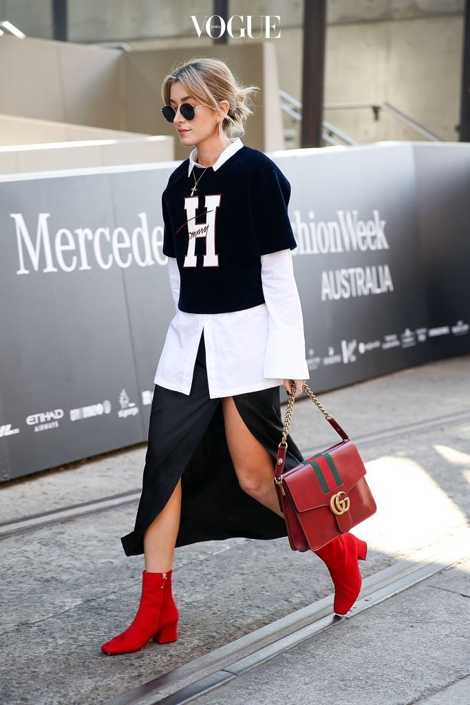 SYDNEY, AUSTRALIA - MAY 19:  Carmen Hamilton, wearing Tommy Hilfiger top and Gucci handbag, arrives at Mercedes-Benz Fashion Week Resort 17 Collections at Carriageworks on May 19, 2016 in Sydney, New South Wales.  (Photo by Caroline McCredie/Getty Images)