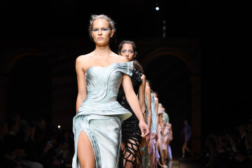 PARIS, FRANCE - JULY 03:  Models walk the runway during the Atelier Versace Haute Couture Fall/Winter 2016-2017 show as part of Paris Fashion Week on July 3, 2016 in Paris, France.  (Photo by Pascal Le Segretain/Getty Images)
