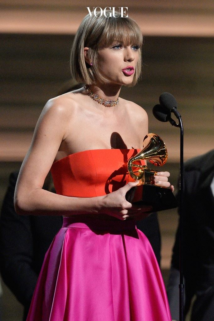 "LOS ANGELES, CA - FEBRUARY 15:  Singer Taylor Swift accepts the Album of the Year award for ""1989"" onstage during The 58th GRAMMY Awards at Staples Center on February 15, 2016 in Los Angeles, California.  (Photo by Kevork Djansezian/Getty Images)"