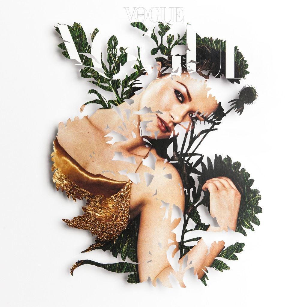 """<보그 코리아> 2001년 8월호 커버를 페이퍼 커팅으로 재해석한 현대미술가 유 현(Yoo Hyun, @yoo.hyun, @yoohyun_artist)의 작품. """"<보그> 20주년을 기념하기 위해 꽃다발을 준비했습니다. 커버 모델의 비주얼을 그대로 살리고, 꽃과 식물의 형상을 핸드 커팅으로 표현했습니다. 섬세하게 오려낸 종이는 디지털 매체의 발달로 조금씩 잊혀져 가는 아날로그적 감성을 자극 시키고, 꾸미지 않은 본연의 아름다움을 의미합니다. 자연과 인간의 조화를 바탕으로 이미지를 비워냄으로, <보그>만의 아름다움이 다시 채워지길 기대합니다"""""""