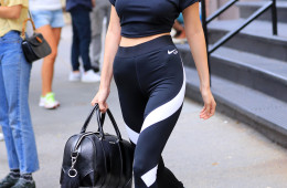 Bella Hadid wears a tight-fitting Martin Garrix Nike RT Star T-Shirt in New York  Pictured: Bella Hadid Ref: SPL1318150  130716   Picture by: XactpiX / Splash News  Splash News and Pictures Los Angeles:	310-821-2666 New York:	212-619-2666 London:	870-934-2666 photodesk@splashnews.com