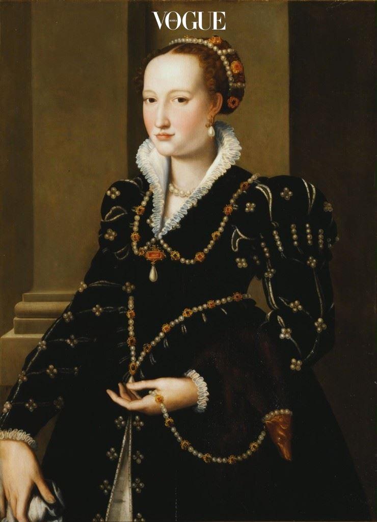 이사벨라 메디치(Isabella de Medici)의 초상화, 1550 ca. 우피치(Uffizi), 플로렌스.