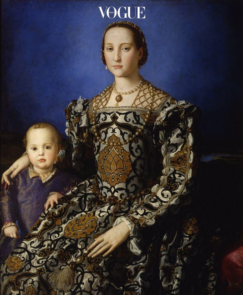 엘레오노라 톨레도(Eleonora of Toledo)와 그녀의 아들 지오바니(Giovanni)의 초상화, 유화 (115*96 cm), 아그놀로 브론치노(Agnolo Bronzino)의 1545년 작품. 플로렌스 우피치(Uffizi) 갤러리 소장 중.