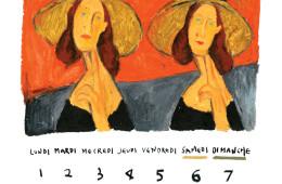 다섯 개의 키워드는 결국 '시간'이라는 단어로 모아졌다. 패션계에서 20년간 사랑받고 있는 에 시간은 무척이나 중요한 요소일 것 같았다. 그리고 자연스럽게 그림이 하나 떠올랐다. 모딜리아니의 작품 '큰 모자를 쓴 잔 에뷔테른(Portrait of Jeanne Hebuterne in a Large Hat)'. 이 그림은 오랜 시간 세계적으로 사랑받은 작품이자 모딜리아니가 너무나 사랑하던 한 여인의 초상화이기도 하다. 모딜리아니 작품을 눈앞에 두고, 머릿속에 그릴 위치를 떠올린 뒤 애용하는 오일 파스텔로 쓱싹쓱싹 그렸다.