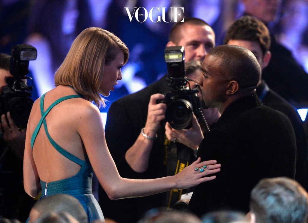 LOS ANGELES, CA - FEBRUARY 08:  Singer Taylor Swift (L) and rapper Kanye West attend The 57th Annual GRAMMY Awards at the at the STAPLES Center on February 8, 2015 in Los Angeles, California.  (Photo by Kevork Djansezian/Getty Images)