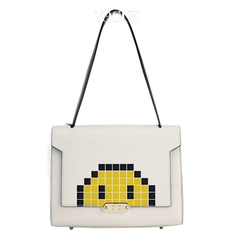 Bathurst Small Satchel Pixel Smiley in Chalk Capra