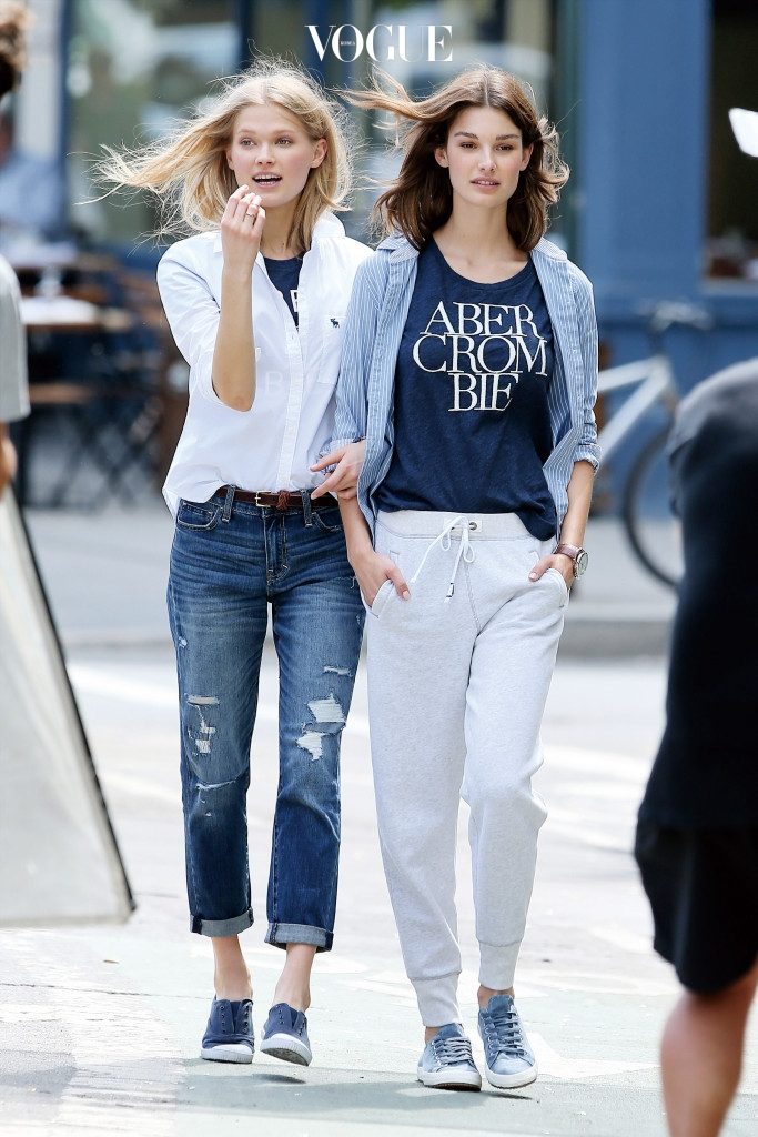 Fashion models Vita Sidorkina and Cameron Russell shoot an Abercrombie & Fitch campaign, in the West Village in New York City