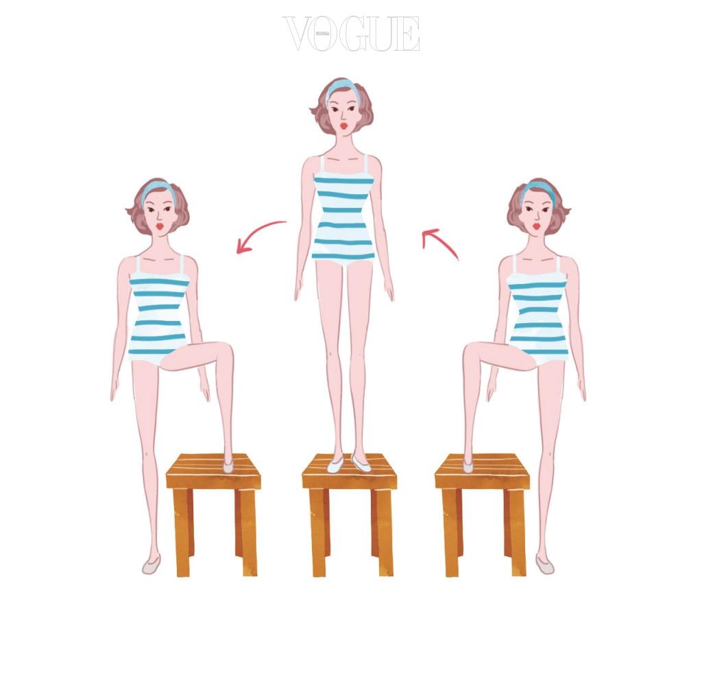 "STEP-ACROSS ""이 동작은 엉덩이와 허벅지가 만나는 부분을 자극해 근육이 더욱 탄력 있고 업되도록 해줍니다."""