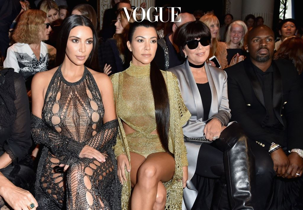PARIS, FRANCE - SEPTEMBER 29:  Kim Kardashian, Kourtney Kardashian, Kris Jenner and Corey Gamble attend the Balmain show as part of the Paris Fashion Week Womenswear  Spring/Summer 2017  on September 29, 2016 in Paris, France.  (Photo by Pascal Le Segretain/Getty Images)