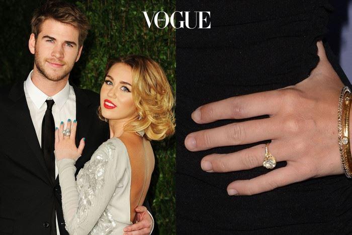 마일리 사이러스 리암 햄스워스 $250,000 (약 2억 9천만 원) 약혼-파혼 위기-재결합 단계를 거친 커플.  2012년, 리암 햄스워스(Liam Hemsworth)는 빈티지를 좋아하는 마일리 사이러스(Miley Cyrus)를 위해 1890년산 3.5 캐럿 다이아몬드를 이용한 디자이너 닐 레인(Neil Lane)의 반지를 선물했습니다.