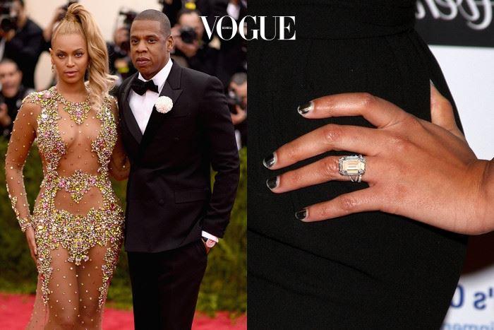 비욘세 놀스 제이지 $5,000,000 로레인 슈워츠(Lorraine Schwartz)가 디자인한 에메랄드 컷 20캐럿 다이아몬드 반지.