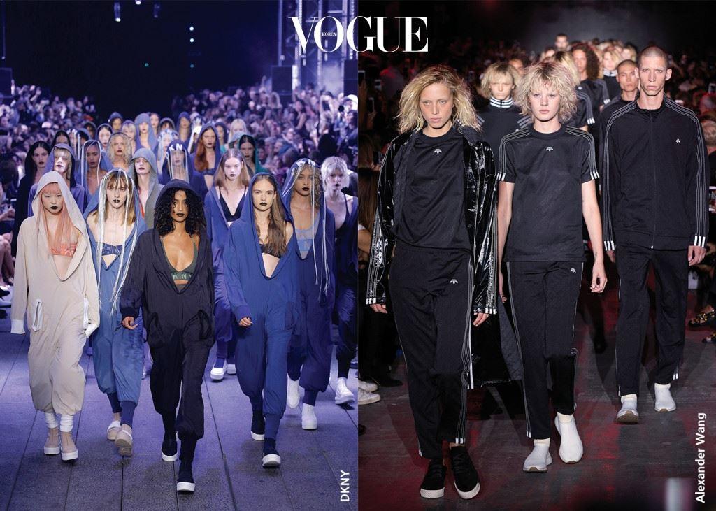 #GROUP DKNY VS ALEXANDER WANG 쇼가 끝나는 순간 무대 위로 밀려 나오는 모델들의 물결. 인스타그램을 위한 완벽한 순간.